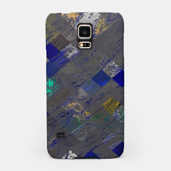 psychedelic geometric pixel square pattern abstract background in blue black yellow Samsung Case thumbnail image