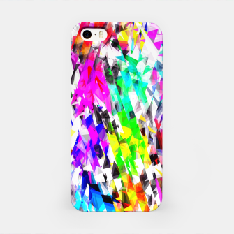 psychedelic geometric triangle polygon pattern abstract background in pink blue purple green yellow iPhone Case thumbnail image