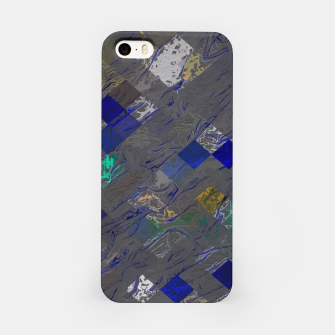 psychedelic geometric pixel square pattern abstract background in blue black yellow iPhone Case thumbnail image