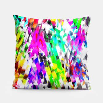 psychedelic geometric triangle polygon pattern abstract background in pink blue purple green yellow Pillow thumbnail image