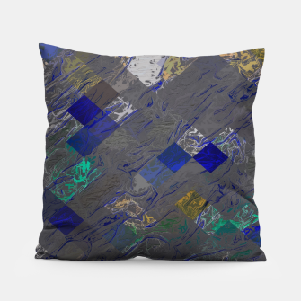 psychedelic geometric pixel square pattern abstract background in blue black yellow Pillow thumbnail image