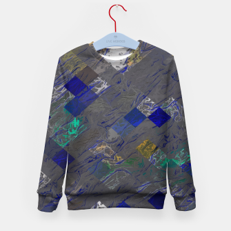 psychedelic geometric pixel square pattern abstract background in blue black yellow Kid's sweater thumbnail image
