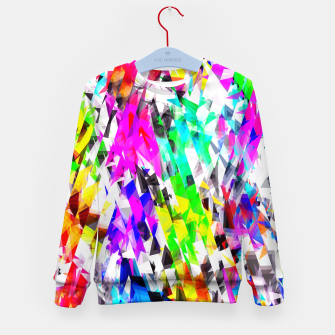 psychedelic geometric triangle polygon pattern abstract background in pink blue purple green yellow Kid's sweater thumbnail image