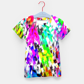 psychedelic geometric triangle polygon pattern abstract background in pink blue purple green yellow Kid's t-shirt thumbnail image