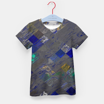psychedelic geometric pixel square pattern abstract background in blue black yellow Kid's t-shirt thumbnail image