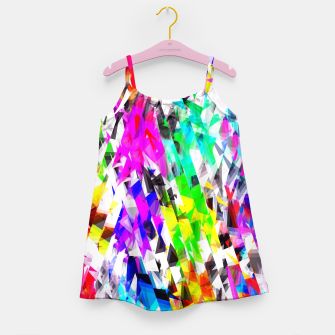 psychedelic geometric triangle polygon pattern abstract background in pink blue purple green yellow Girl's dress thumbnail image