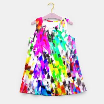 psychedelic geometric triangle polygon pattern abstract background in pink blue purple green yellow Girl's summer dress thumbnail image