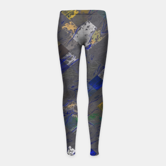 Imagen en miniatura de psychedelic geometric pixel square pattern abstract background in blue black yellow Girl's leggings, Live Heroes