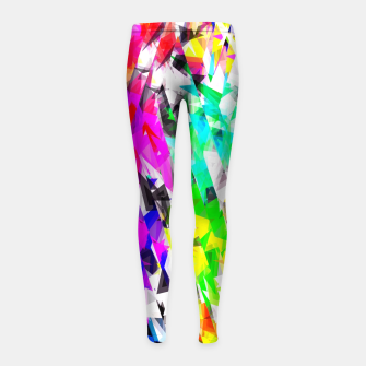 psychedelic geometric triangle polygon pattern abstract background in pink blue purple green yellow Girl's leggings thumbnail image