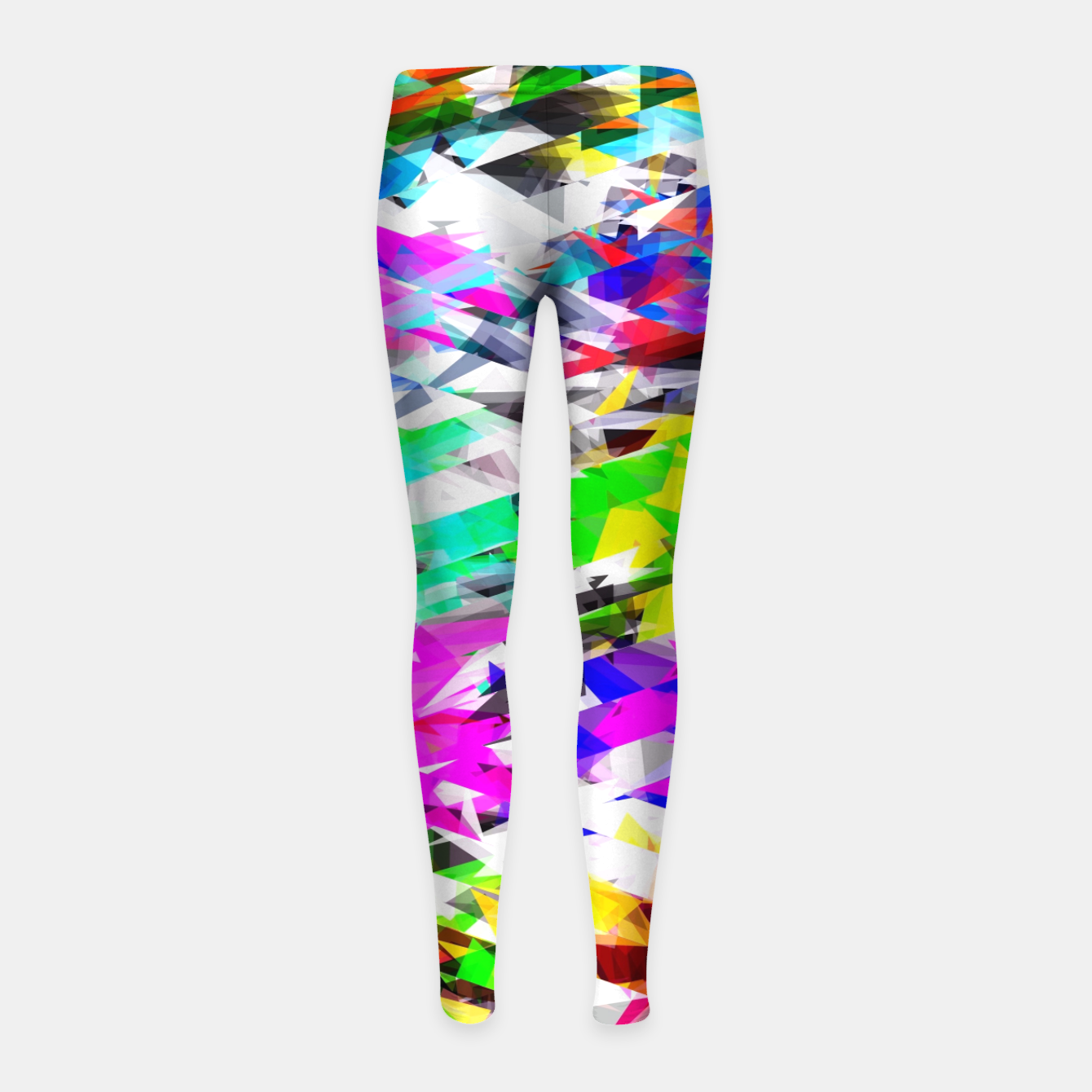 Image of psychedelic geometric triangle polygon pattern abstract background in pink blue purple green yellow Girl's leggings - Live Heroes
