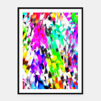 psychedelic geometric triangle polygon pattern abstract background in pink blue purple green yellow Framed poster thumbnail image