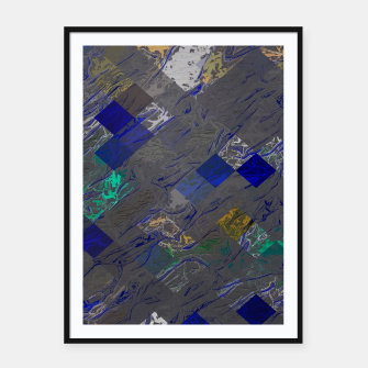 psychedelic geometric pixel square pattern abstract background in blue black yellow Framed poster thumbnail image