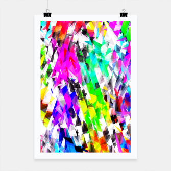 psychedelic geometric triangle polygon pattern abstract background in pink blue purple green yellow Poster thumbnail image