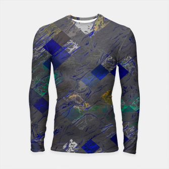 psychedelic geometric pixel square pattern abstract background in blue black yellow Longsleeve rashguard  thumbnail image