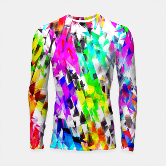 psychedelic geometric triangle polygon pattern abstract background in pink blue purple green yellow Longsleeve rashguard  thumbnail image