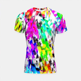 psychedelic geometric triangle polygon pattern abstract background in pink blue purple green yellow Shortsleeve rashguard thumbnail image