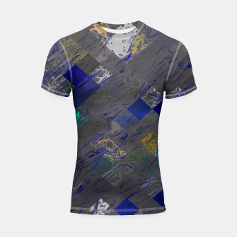 psychedelic geometric pixel square pattern abstract background in blue black yellow Shortsleeve rashguard thumbnail image