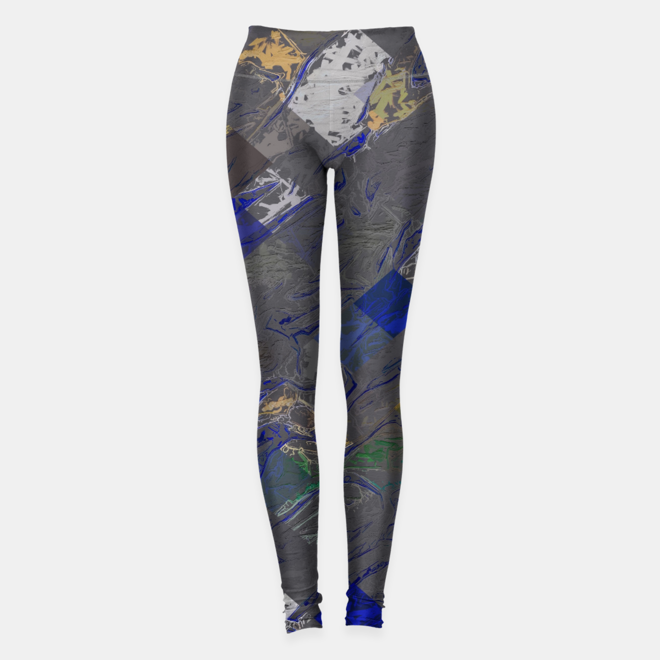 Image of psychedelic geometric pixel square pattern abstract background in blue black yellow Leggings - Live Heroes
