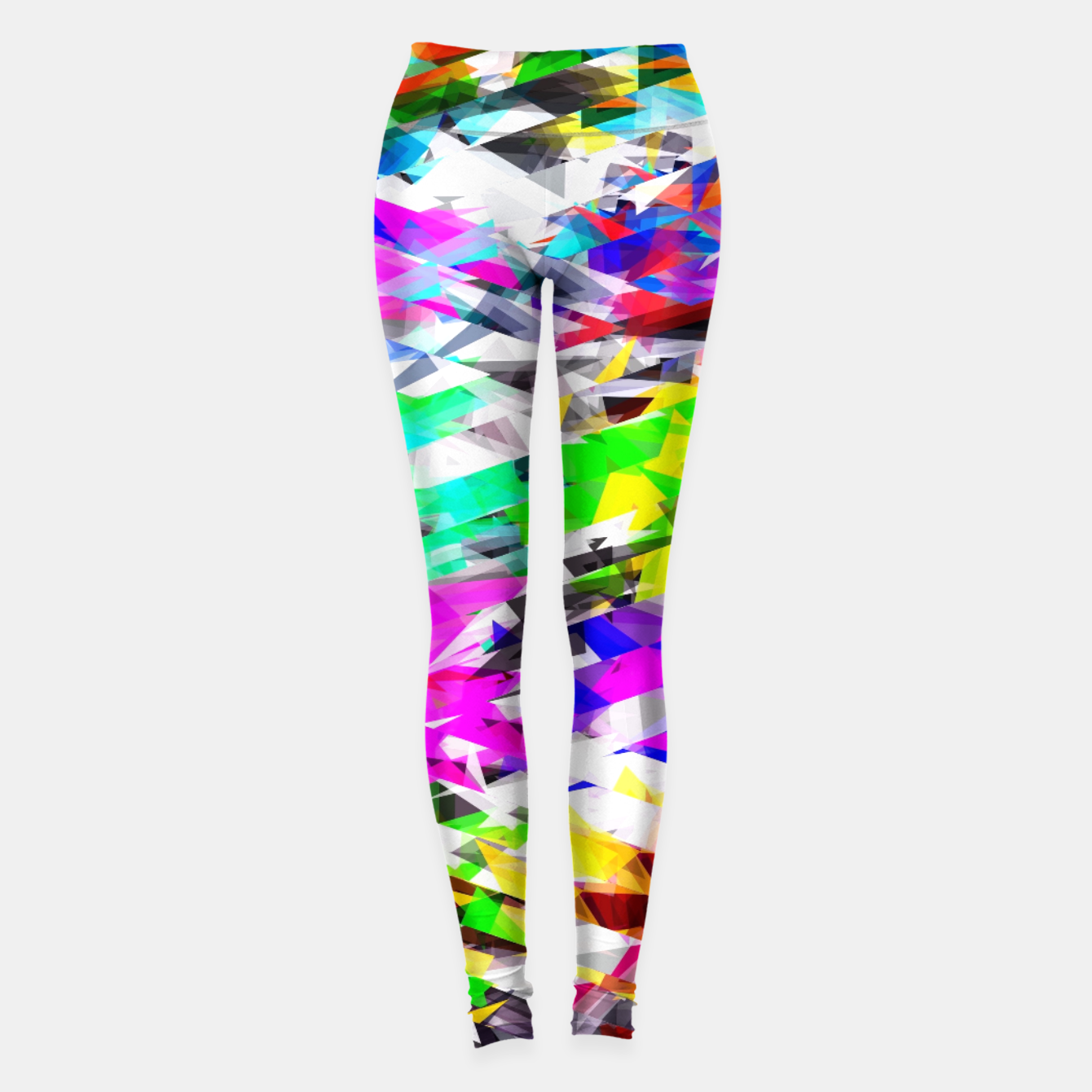 Image of psychedelic geometric triangle polygon pattern abstract background in pink blue purple green yellow Leggings - Live Heroes