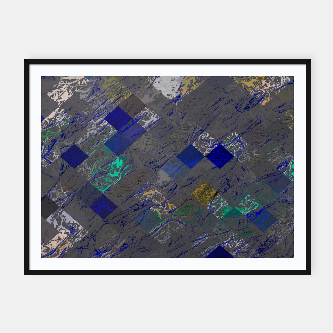 Image of psychedelic geometric pixel square pattern abstract background in blue black yellow Framed poster - Live Heroes