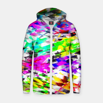 Miniaturka psychedelic geometric triangle polygon pattern abstract background in pink blue purple green yellow Cotton zip up hoodie, Live Heroes
