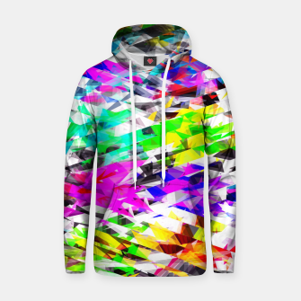 Thumbnail image of psychedelic geometric triangle polygon pattern abstract background in pink blue purple green yellow Cotton hoodie, Live Heroes