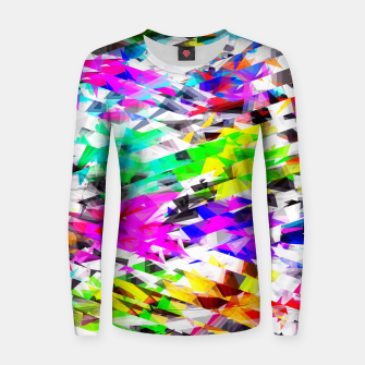 Imagen en miniatura de psychedelic geometric triangle polygon pattern abstract background in pink blue purple green yellow Woman cotton sweater, Live Heroes