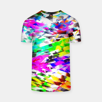 Miniaturka psychedelic geometric triangle polygon pattern abstract background in pink blue purple green yellow T-shirt, Live Heroes