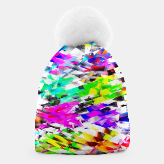 Miniaturka psychedelic geometric triangle polygon pattern abstract background in pink blue purple green yellow Beanie, Live Heroes
