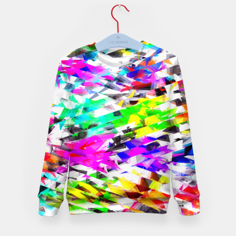 Miniaturka psychedelic geometric triangle polygon pattern abstract background in pink blue purple green yellow Kid's sweater, Live Heroes