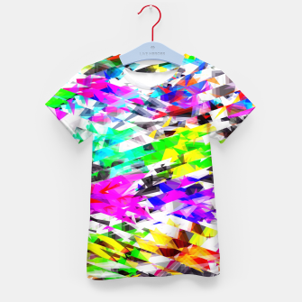 Miniaturka psychedelic geometric triangle polygon pattern abstract background in pink blue purple green yellow Kid's t-shirt, Live Heroes