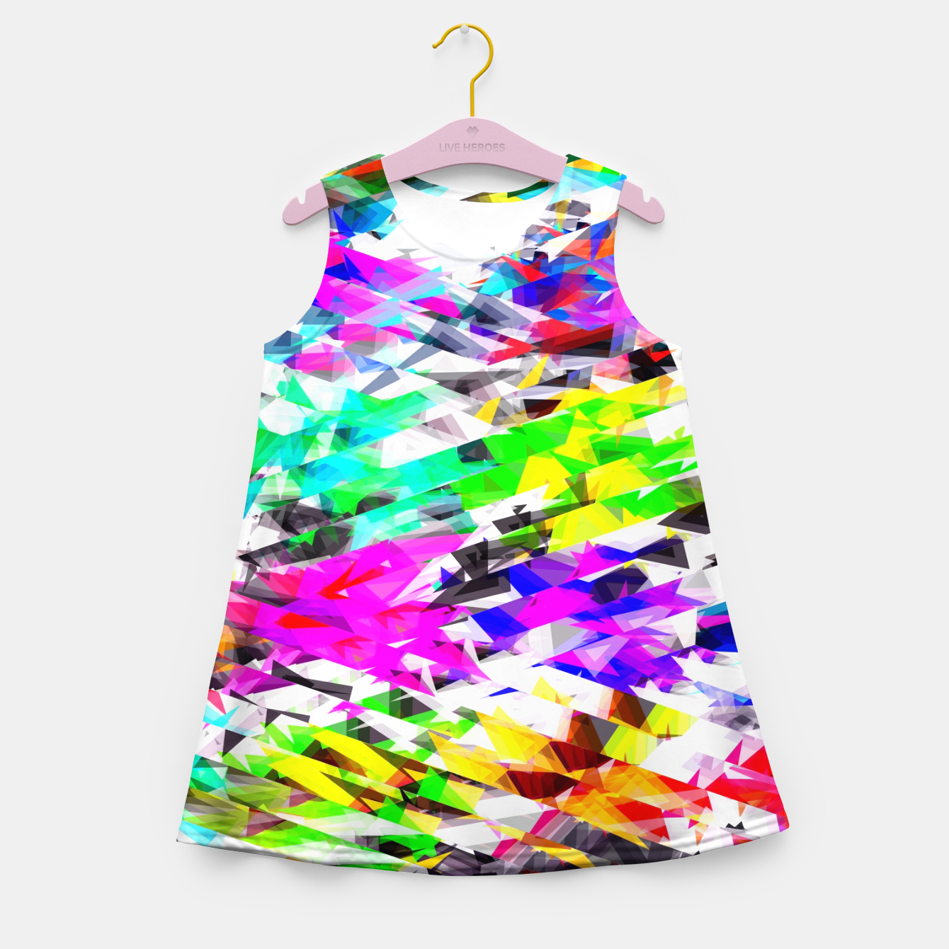 Image of psychedelic geometric triangle polygon pattern abstract background in pink blue purple green yellow Girl's summer dress - Live Heroes