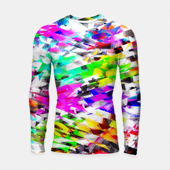 Miniaturka psychedelic geometric triangle polygon pattern abstract background in pink blue purple green yellow Longsleeve rashguard , Live Heroes