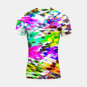 Miniaturka psychedelic geometric triangle polygon pattern abstract background in pink blue purple green yellow Shortsleeve rashguard, Live Heroes