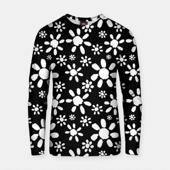 Thumbnail image of White Flowers on Black Cotton sweater, Live Heroes