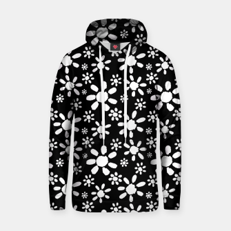 Thumbnail image of White Flowers on Black Cotton hoodie, Live Heroes