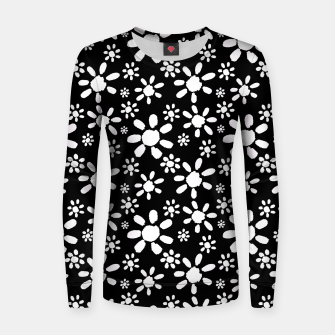 Thumbnail image of White Flowers on Black Woman cotton sweater, Live Heroes