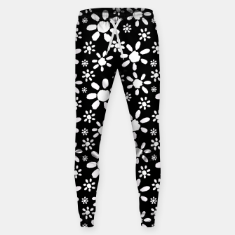 Thumbnail image of White Flowers on Black Cotton sweatpants, Live Heroes