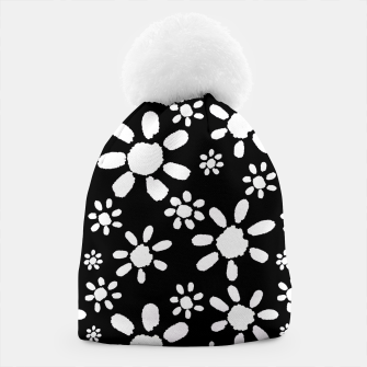 Thumbnail image of White Flowers on Black Beanie, Live Heroes