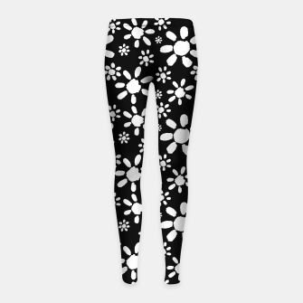 Imagen en miniatura de White Flowers on Black Girl's leggings, Live Heroes