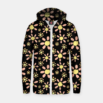 Thumbnail image of Flowers on Black Cotton zip up hoodie, Live Heroes