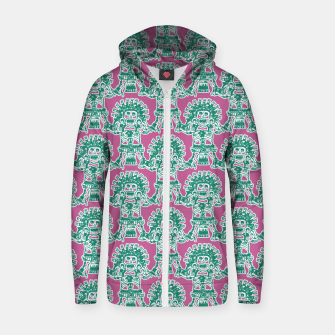 Miniatur  Ancient Mexican Myth Cotton zip up hoodie, Live Heroes