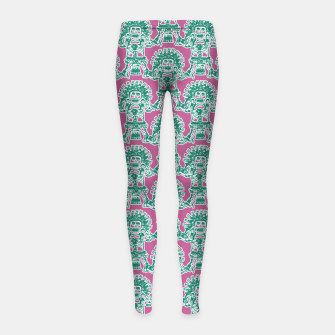 Thumbnail image of  Ancient Mexican Myth Girl's leggings, Live Heroes