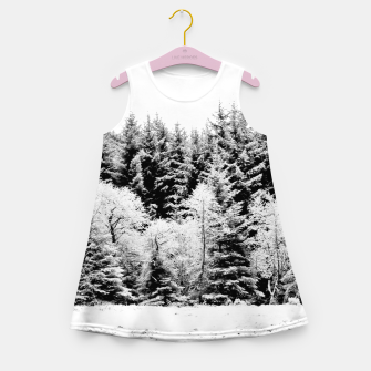 Miniatur Blank and white pine trees Girl's summer dress, Live Heroes