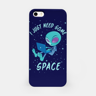 I Just Need Some Space Alien with Laptop iPhone Case obraz miniatury