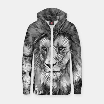 Thumbnail image of AnimalArtBW_Lion_001_by_JAMFoto Cotton zip up hoodie, Live Heroes