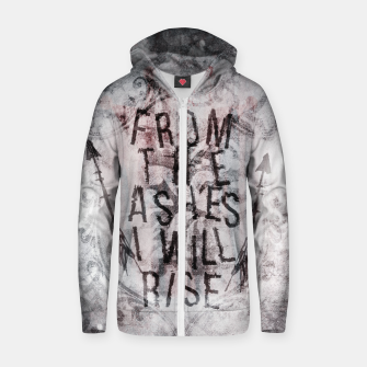 Thumbnail image of From the Ashes I will Rise Baumwoll reißverschluss kapuzenpullover, Live Heroes