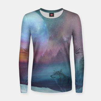 Thumbnail image of Howling at the moon Woman cotton sweater, Live Heroes