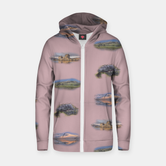 Thumbnail image of Highland landmarks pink Cotton zip up hoodie, Live Heroes