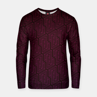 Miniatur Geometric Illusion pattern in deep red Cotton sweater, Live Heroes